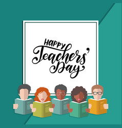 happy teachers day hand lettering in frame vector image