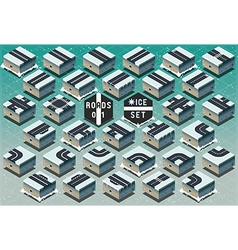 Isometric Roads on Frozen Terrain vector image vector image