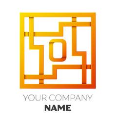 Letter o symbol in the colorful square maze vector