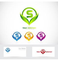 Letter S green leafs logo set vector image vector image