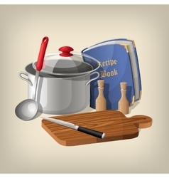 Pan ladle recipe book cutting board and knife vector