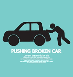 Pushing Broken Car Graphic Symbol vector image