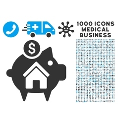 Realty piggy bank icon with 1000 medical business vector