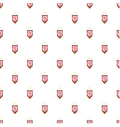 Red and white pennant with soccer ball pattern vector