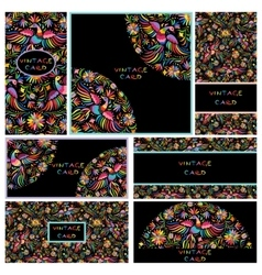 Set black business cards with Floral Mexican vector image vector image