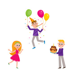 Set of people having fun at birthday party vector
