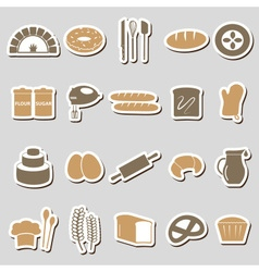 simple bakery items color stickers set eps10 vector image