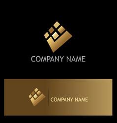 square check mark digital gold logo vector image