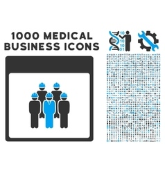 Staff calendar page icon with 1000 medical vector