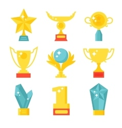 Trophy and awards icons set flat vector