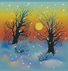 winter sunset landscape vector image vector image