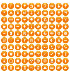 100 lumberjack icons set orange vector