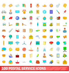 100 postal service icons set cartoon style vector image vector image