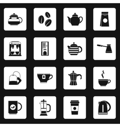 Coffee icons set simple style vector