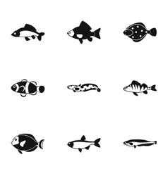 Ocean fish icons set simple style vector