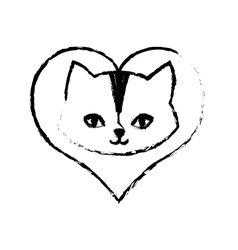 Cat feline curious small love sketch vector