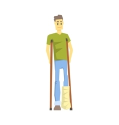 Guy with cast on leg with crouches young person vector