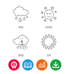 weather sun and rain icons vector image