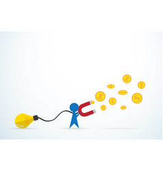 Blue man attracts money with a large light bulb vector