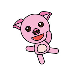 Drawing piggy animal character vector