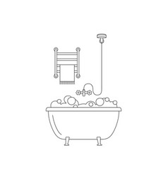 Bath line drawing vector