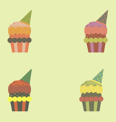 Party cupcakes sweet dessert set vector