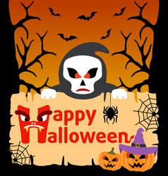 Halloween background card with scytheman vector