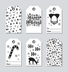 Christmas and new year gift tags cards xmas set vector