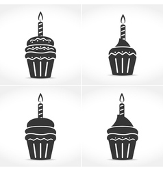 Birthday cupcakes with candles vector