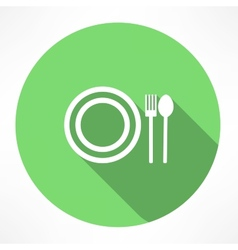 Plate with spoon and fork icon vector