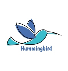 Blue soaring hummingbird or colibri symbol vector
