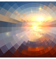 Abstract sunset light round technology mosaic vector