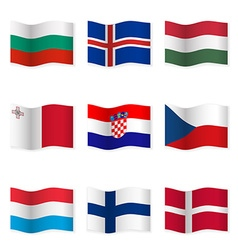 Waving flags of different countries 6 vector