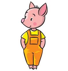 Little piglet in orange overall vector