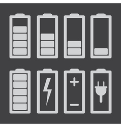 Set of battery charge level indicators isolated vector