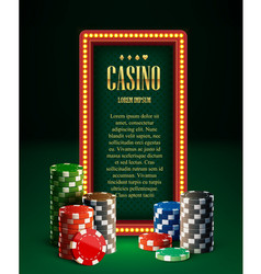 Casino chips lamp vintage banner and cards vector