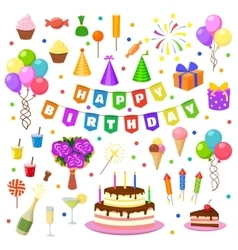 Happy birthday party symbols vector