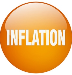 Inflation orange round gel isolated push button vector