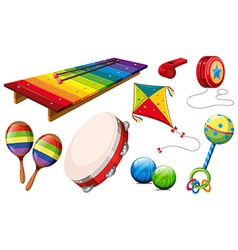 Different kind of musical instruments and toys vector
