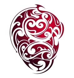 Maori style heart shape tattoo vector image