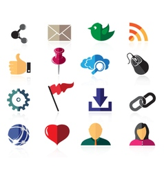 Color social network icons vector image
