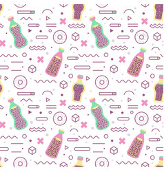 abstract memphis geometric shapes seamless pattern vector image