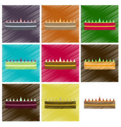 assembly flat shading style icons cream cake vector image vector image