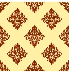 Brown floral damask seamless pattern vector