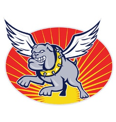 bulldog with wings flying vector image vector image