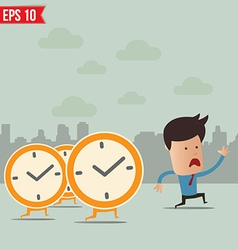 Business man run ahead the clock - - EPS10 vector image vector image