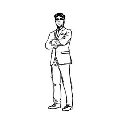 businessman standing with glasses crossing arm vector image vector image