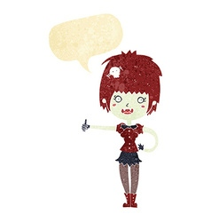 cartoon vampire girl giving thumbs up sign with vector image vector image
