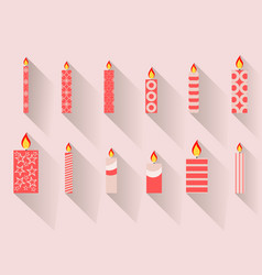 Christmas candles in a flat design with long vector