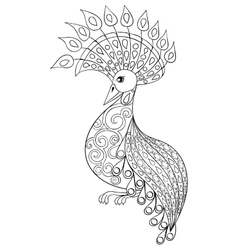 Coloring page with bird zentangle vector